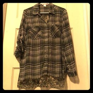Band of gypsies olive plaid blouse size small
